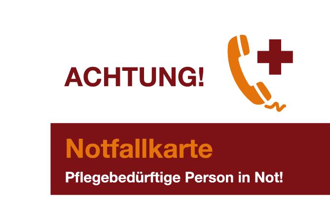 Notfallkarte für pflegende Angehörige Frontseite