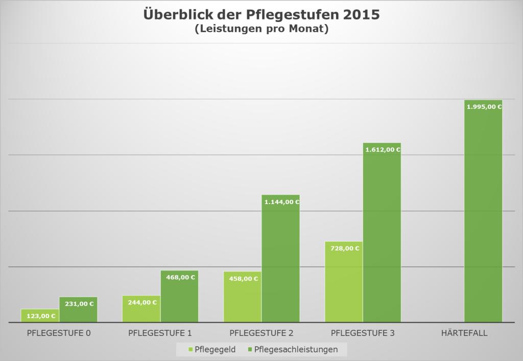 Überblick der Pflegestufen mit Leistungen 2015